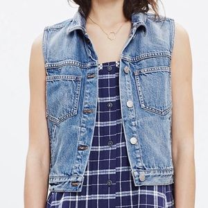 """Madewell """"The Pocket"""" Denim Vest Button Up Size S"""